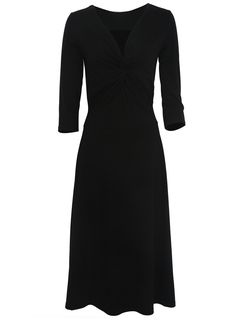 The dress is featuring solid color, knot front, deep v and an A-line silhouette.