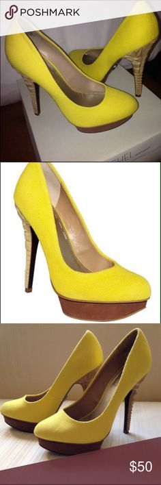 Racheal Roy dandelion yellow geometric spike heels Size 7.5 Racheal Roy yellow closed toe high heels with unique geometric spike design. Worn only once in excellent condition. Celebrity fave brand Rachel Roy Shoes Heels