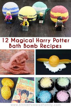 12 magical Harry Potter Bath Bomb recipes for your witch or wizard to make themselves. Includes Cauldrons, Hogwarts Houses, Dementors, a Golden Snitch, and more! Each recipe includes the science of bath bombs making this a fantastic science lesson for muggles and potions lesson for wizards. Click to reveal the magic! #BathBombs #HarryPotter