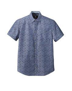 Chemise manches courtes en coton bleu barbeau imprimé liberty