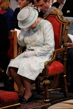 The Queen wipes her eyes during the thanksgiving service to mark her Diamond Jubilee at St Paul's Cathedral
