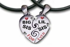 """Big Sis & Lil Sis Heart Pendant Necklaces with chains. (17.5"""" PVC) Pewter (2) piece set with PVC ropes are a great gift idea for an older big sister or a younger little sister! (Broken Heart Friendship jewelry design - Sister jewelry / sister gifts) by Pewter & PVC, http://www.amazon.com/dp/B0055KPUHS/ref=cm_sw_r_pi_dp_EW9jsb1M88Q3H"""