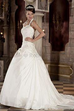 Robe de mariée a salle intérieure avec cristal de traîne mi-longue manche nulle…