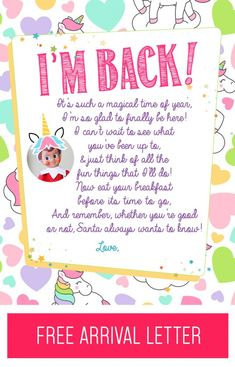 elf on the shelf unicorn arrival letter