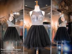 This glamorous short dress features a high neckline bodice completely covered with sparkling iridescent AB stones and an illusion back. Absolutely stunning and it's at Rsvp Prom and Pageant, your Atlanta Prom Store!