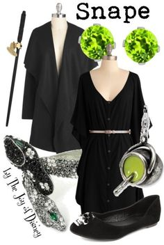Outfit inspired by Severus Snape from the Harry Potter movies!- I wish i had clothes Harry Potter Mode, Harry Potter Style, Harry Potter Outfits, Disney Bound Outfits, Disney Inspired Outfits, Themed Outfits, Fandom Fashion, Geek Fashion, Coldplay
