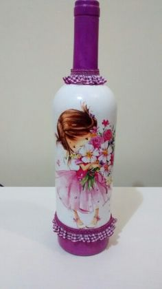 etched and decoupage bottles Recycled Glass Bottles, Painted Wine Bottles, Bottles And Jars, Mason Jars, Wine Bottle Art, Diy Bottle, Bottle Crafts, Baby Food Jar Crafts, Baby Food Jars