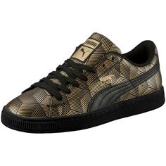 Puma Basket Classic Metal Women's Sneakers ($70) ❤ liked on Polyvore featuring shoes, sneakers, black, puma shoes, black lace up sneakers, metallic shoes, laced sneakers and kohl shoes