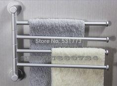 4 armen badkamer handdoekenrek wandmontage houder zilver ruimte aluminium handdoekenrek