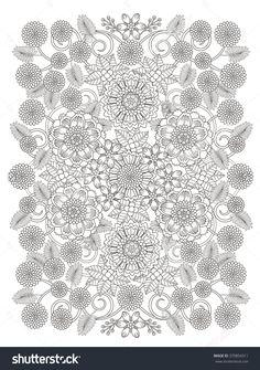 Beautiful Floral Coloring Page In Exquisite Line Imagen de archivo (stock) 370854311 : Shutterstock