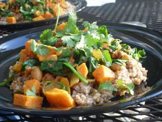 Sweet Potato Curry With Spinach and Chickpeas. Photo by tamalita62. Made this for dinner tonight. YUM!