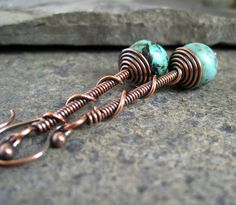 Oxidized Copper Earrings, copper beaded earrings, wire jewelry,. £17.00, via Etsy.