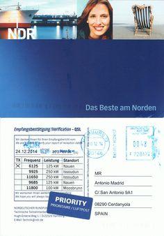 Recibida QSL por correo postal , de la emisora Alemana NDR Info-Nauen