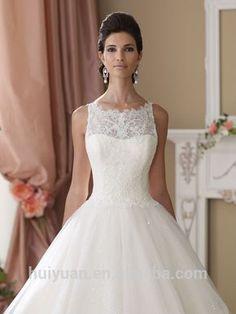 elegant white scoop neck lace ball gown online wedding dress