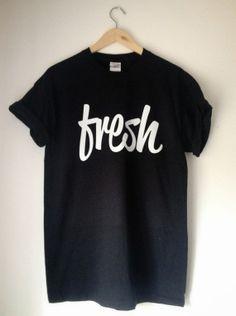 Fresh Print Mens Black T-Shirt - Indie Skate Urban Swag Selfie Sreetwear