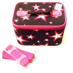 🆕 Makeup Train Case - Stars ⬇️Reduced Brand new, never used. Black with hot pink trim. Has a top handle and includes a detachable shoulder strap and removable mirror. Zips closed. Bags Cosmetic Bags & Cases