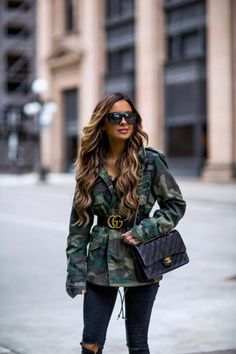77001fda69122 02 APR, 2018 How To Make Camo Look Chic - Outfit Details: Gucci Belt · Camo  Denim JacketBomber Jacket OutfitCamouflage ...