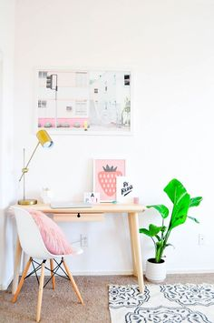 Pastel prints in the guest room and office of Proper blogger Lexy Ward - Decoist