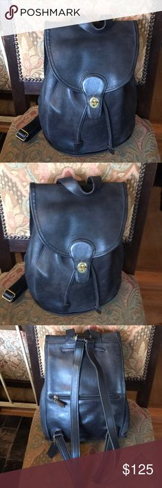 """Vintage Coach black leather backpack 🎒 Vintage authentic Coach backpack in good preowned condition  Hight 13"""" Coach Bags Backpacks"""