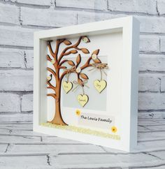 Family Tree Frame  A perfect keepsake for families to treasure and ideal as a gift – birthdays, engagements, weddings, anniversaries or simply just because you want to show that special someone how much they mean with the gift of handmade.  The frame measures approximately 23cm by 23cm and available in black or white.  Included in the frame is a large wooden family tree with up to six hanging heart names. Each wooden heart is painted and personalised in a style of your choice. Buttons to…