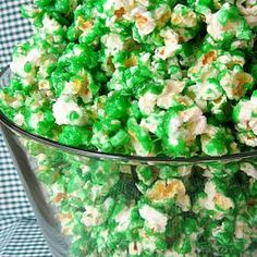 We are popcorn-holics.  This Green Candied Popcorn would be perfect for St. Patrick's Day