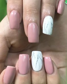 Shiny Light Mauve / Pink ▪ White + Grey Marble Nails