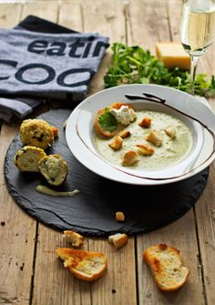 Prosecco Broccoli Goat-Cheese Soup with Chicken Olive Meatballs