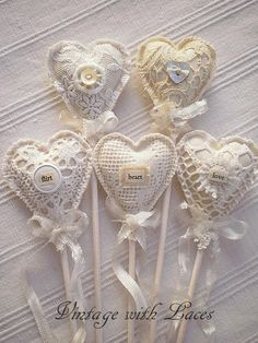 The sweetest Fabric and Lace Heart Picks! by andrea для интерьерной корзинки Valentine Heart, Valentine Crafts, Valentines, Shabby Chic Hearts, Heart Mirror, Fabric Hearts, Lavender Bags, Lace Heart, Heart Crafts