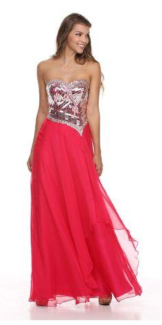 Floor Length A Line Strapless Layered Fuchsia Prom Dress