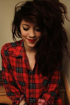Nose hoops are my favorites. Girl with nice big hair, red lipstick, plaid shirt, nose piercing