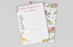 Baby Shower Games - Giraffe - Baby Predictions and Advice Baby Prediction, Giraffe Baby, Baby Shower Games, A5, Etsy Store, Printing, Advice, Invitations, Digital