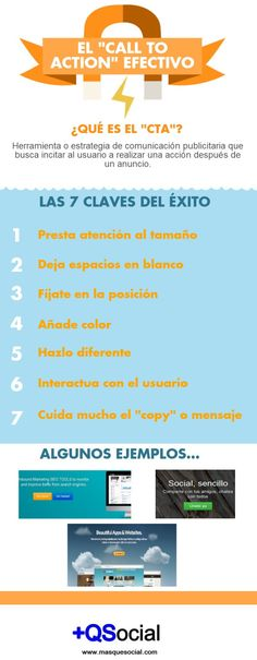 7 claves de una Call to Action (CTA) efectivo De @masqsocial #infografia #infographic #marketing