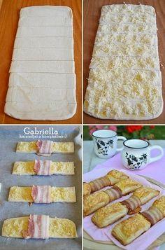 sajtos-baconos masni leveles tésztából Vanilla Cake, Sandwiches, Muffin, Turkey, Pie, Bread, Baking, Brioche Bread, Pastries