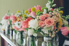 pink + peachy bouquets