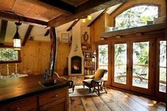 Treehouse interior.  What a cozy spot.