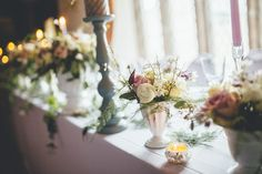 Wild Flowers in White Vases | Bridal Inspiration Shoot | Boringdon Hall Hotel Devon | Afternoon Tea Theme  | Styling By Inspire Hire | Images by Ross Talling | http://www.rockmywedding.co.uk/an-enchanted-place-on-the-hill/