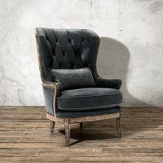 "Portsmouth 32"" Leather Tufted Chair in Sierra Range | Arhaus Furniture"