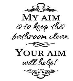 My aim is to keep this bathroom clean, Your aim will help removable vinyl wall art decal 7 x 8.5 inches by QuiteLikeHome on Etsy