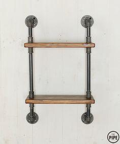 14 x 14cm Iron Steampunk Industrial Steel Pipe Shelf Brackets Rack Holder UK JOY