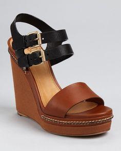 Chloé Wedges Bicolor Wedges in Brown (brown black) - Lyst