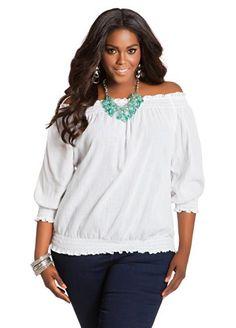 616175b34f8 Ashley Stewart Women s Plus Size Gauze Sleeve Peasant Blouse