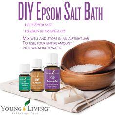 DIY Epsom Salt Bath with Young Living Essential Oils  -  it's almost heaven!   | TheConfidentMom.com