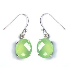 Natural Prehnite Chalcedony Sterling Silver Earring