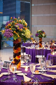 Beautiful Blooms Sweetwater Portraits Plum and Peach Tall Centerpiece National Constitution Center Wedding