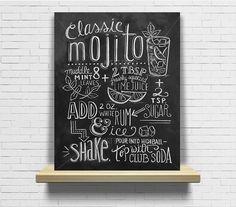 Tableau recette cocktail Mojito Cuisine ardoise tableau à craie : Décorations murales par artdeco28
