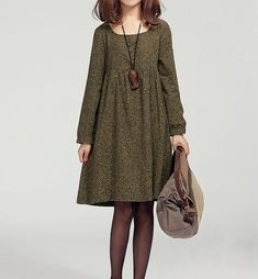 Green Linen Dress Casual Pleat