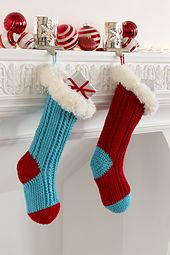 What fun it is to hang these bright modern day stockings for Santa to fill! This clever crochet design features contrast heel and toe and is finished off with a furry cuff.