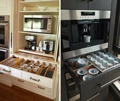 Az edények, tányérok és tartós élelmiszerek tárolása sokszor még a legtágasabb konyhákban is problémát okoz. Pedig néhány praktikus fiókkal még a legkisebb konyhákban is rengeteg tárolóhelyet nyerhetsz. Ezért összegyűjtöttem neked 9+1 formabontó konyhafiókot, ahol még ott is plusz helyet varázsolsz… Stove, Projects To Try, Kitchen Appliances, Storage Ideas, Interiors, Shoes Heels, Cooking, Kitchen Tools, Home Appliances