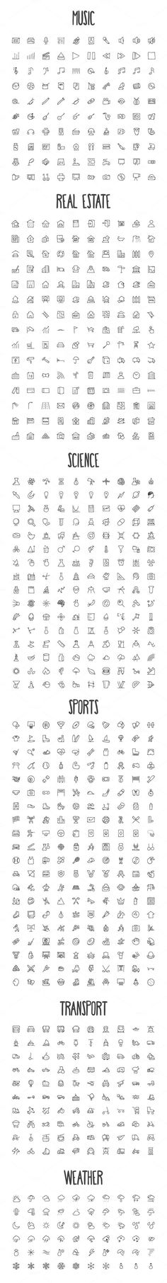 2440 Hand Drawn Doodle Icons Bundle by creativestall on Crea.- 2440 Hand Drawn Doodle Icons Bundle by creativestall on Creative Market - Doodle Drawings, Doodle Art, Doodle Frames, Music Doodle, Doodle Tattoo, Small Drawings, Tattoo Drawings, Doodle Icon, Bullet Journal Inspiration