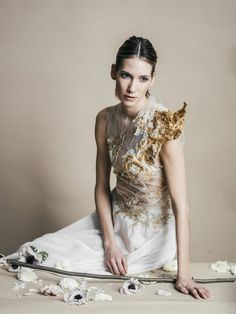 chiffon gown with gold foil by Michelle Hébert, photo by Jamie Beck